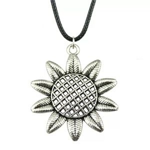 Silver Sunflower Floral Pendant Necklace 3/$30